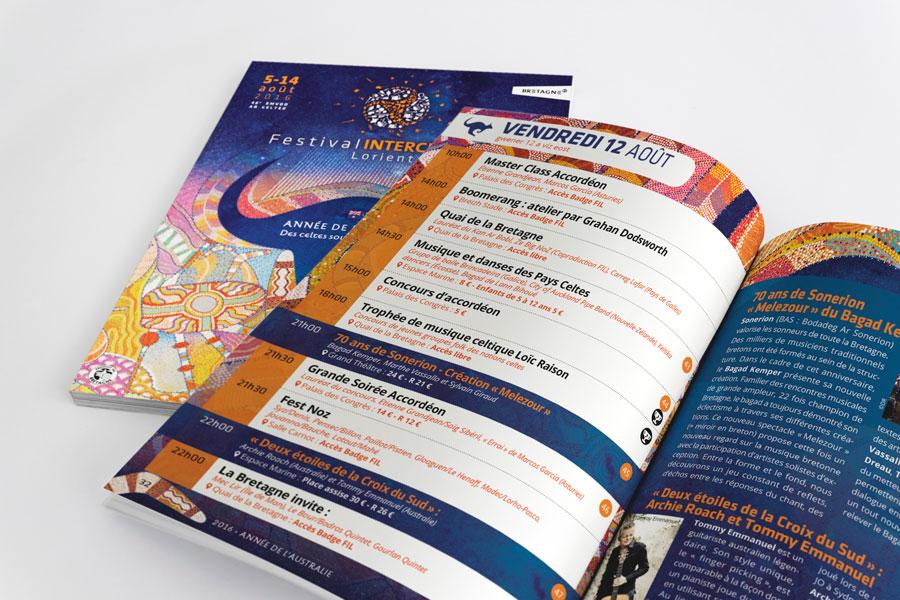 Petit programme gratuit du Festival Interceltique 2016, format poche
