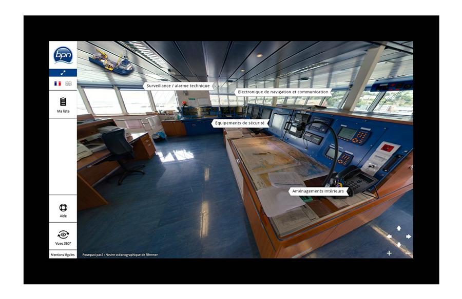 """Sur les vues 360° des points cliquables """"métiers"""" sont placés sur les zones corespondantes"""