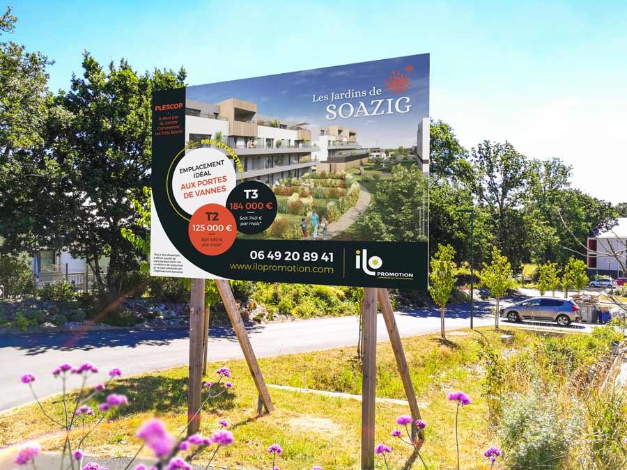 Panneau des Jardins de Soazig à Plescop Ilo promotion