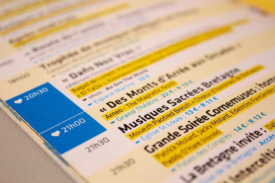 Détail de la mise en page du petit programme du Festival Interceltique de Lorient 2013 - Asturies