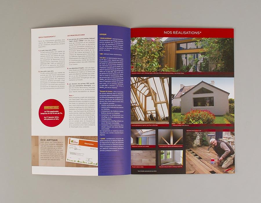 Intérieur du magazine 4 pages de la menuiserie Baron