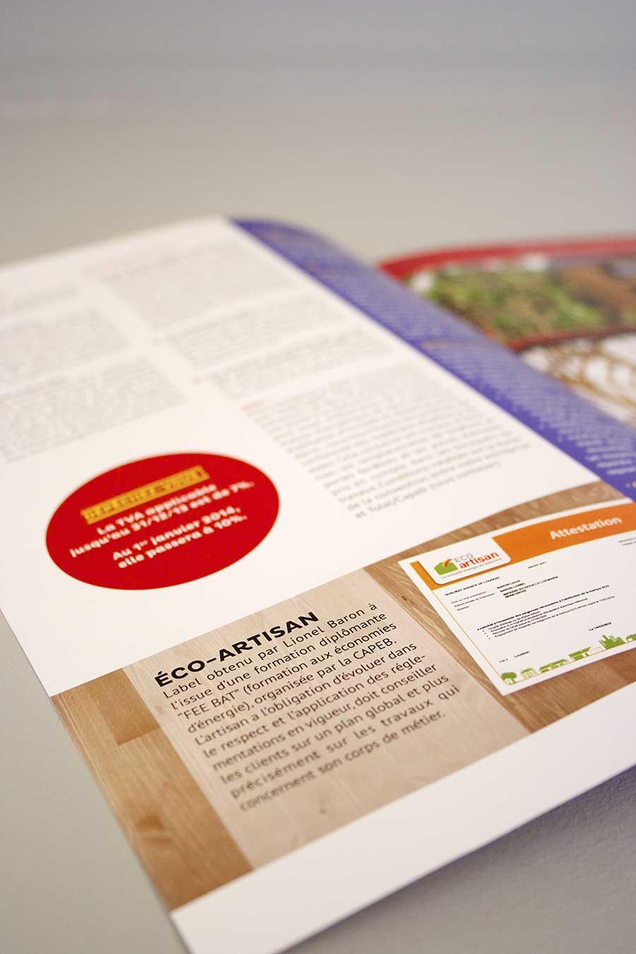 Détail sur le label éco-artisan du magazine 4 pages de la menuiserie Baron