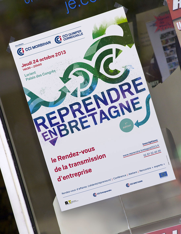 """Affiche 40x60 de l'événement """"Reprendre en Bretagne"""" - CCI Morbihan et Quimper-Cornouaille"""