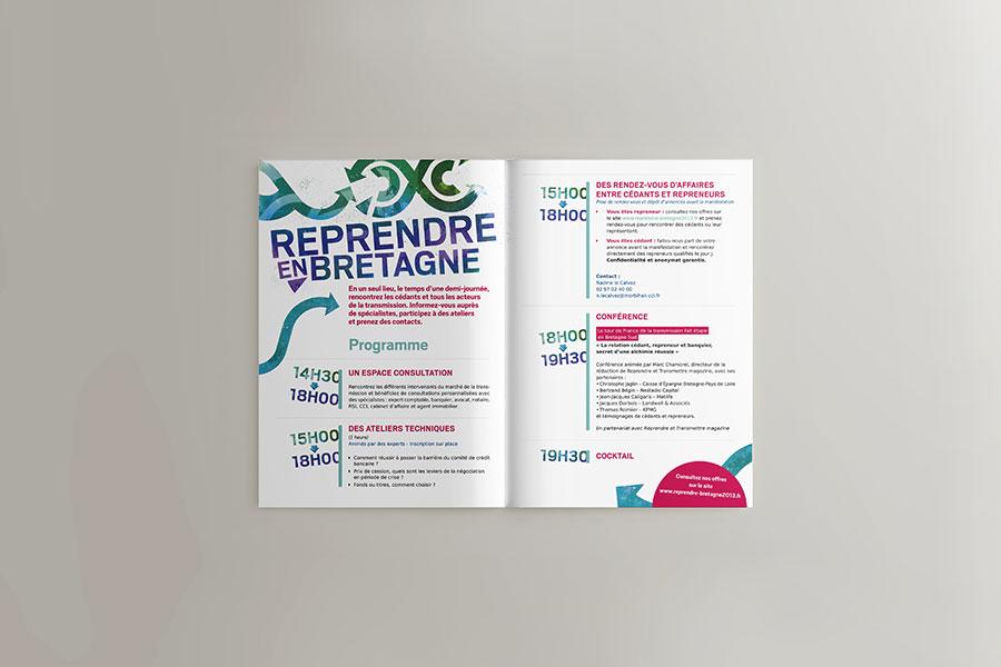 """Pages intérieures de l'invitation 4 pages """"Reprendre en Bretagne"""" - CCI Morbihan et Quimper-Cornouaille"""