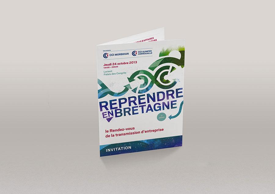 """Couverture de l'invitation 4 pages """"Reprendre en Bretagne"""" - CCI Morbihan et Quimper-Cornouaille"""