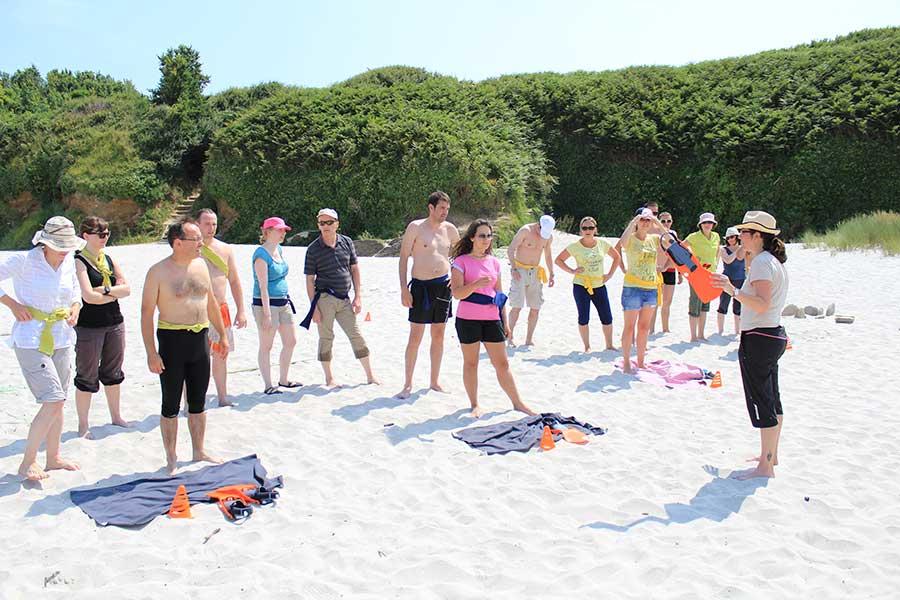 Course en palmes sur la fameuse plage des Grands sables. Fous rires garantis !