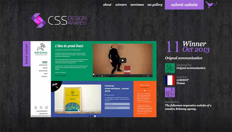 Orignal.fr élu site of the day sur CSS design awards.