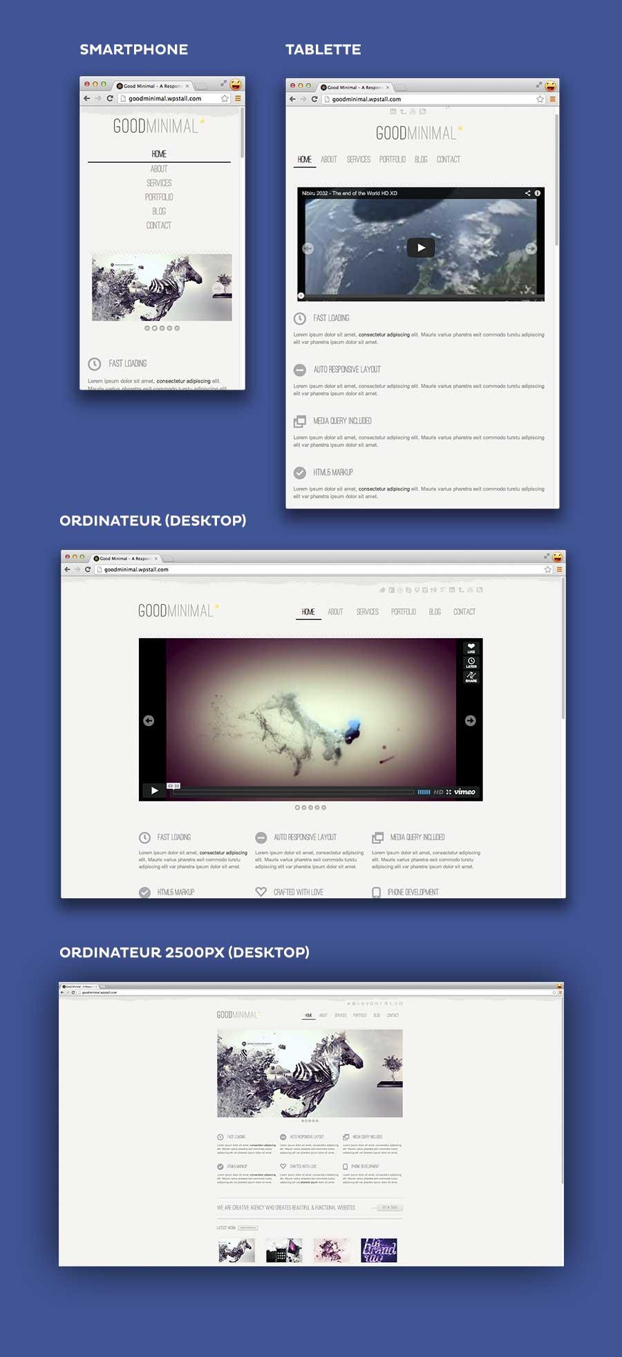 Dans cet exemple le site s'adapte très bien aux différent format d'écrans mais l'on voit clairement qu'à 2500px le design n'est pas adapté.