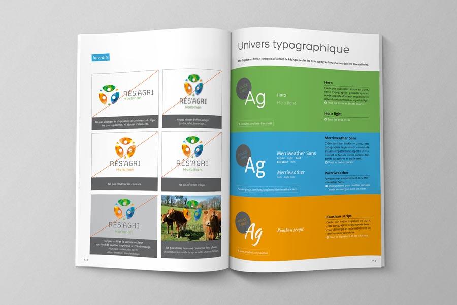Exemple de pages intérieur de la charte graphique Rés' Agri