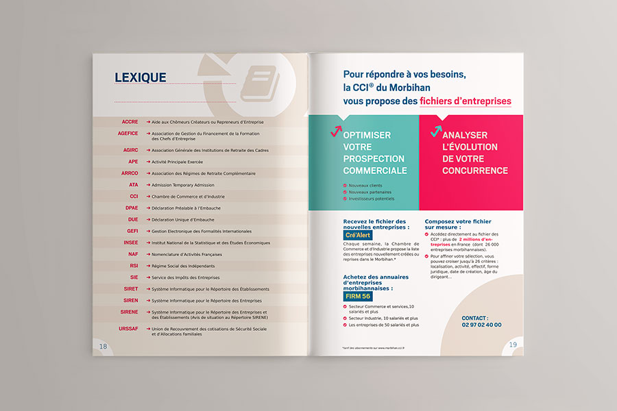 Double page intérieur du guide Entreprendre en Morbihan