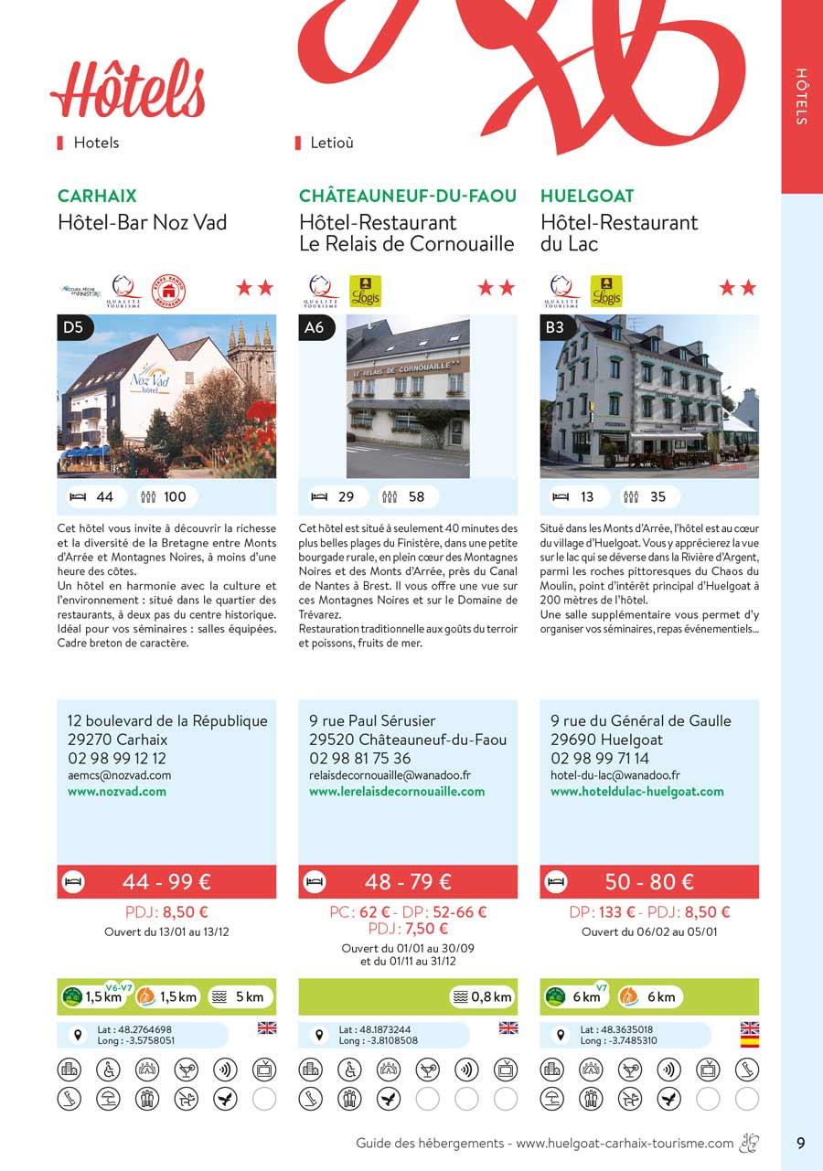 Exemple de page avec trois modules du guides des hébergements de Huelgoat Carhaix.