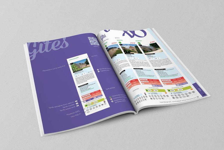 Double page de modules du guide des hébergement de Huegoat Carhaix Tourisme