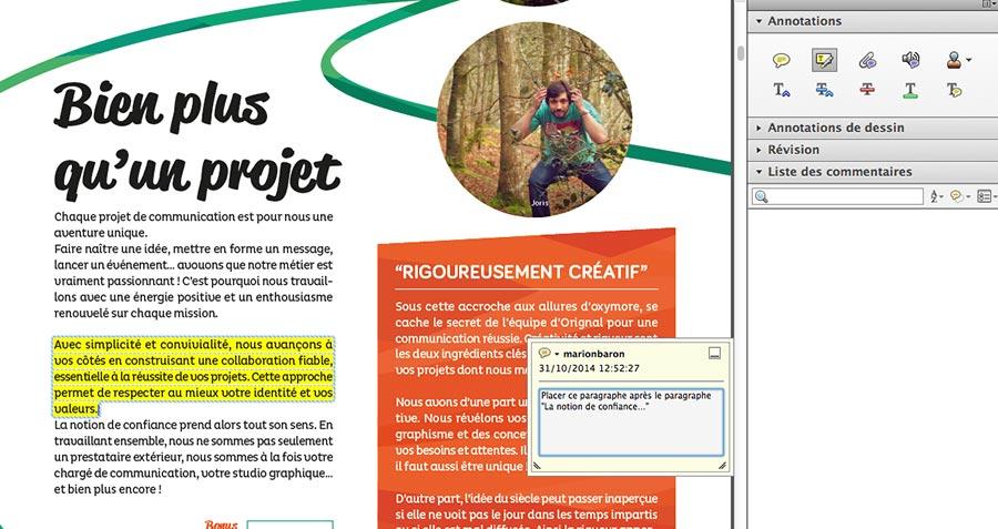 Permet de délimiter tout un bloc texte. Facilité visuelle pour le graphiste sans multiplier les notes !