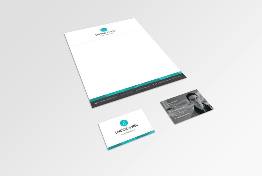 Réalisation de la papeterie : cartes de visite et papier en-tête