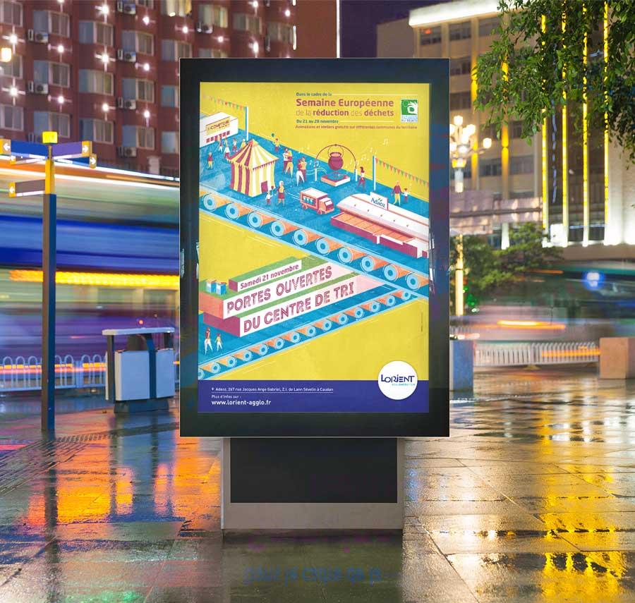 Affichage Urbain 120x176 de la campagne pour les portes ouvertes du centre de tri des déchets de Lorient Agglomération