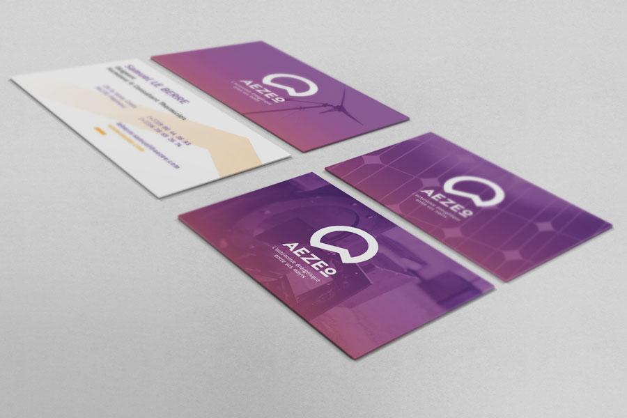Les cartes de visites Aezeo déclinées en trois versions différentes