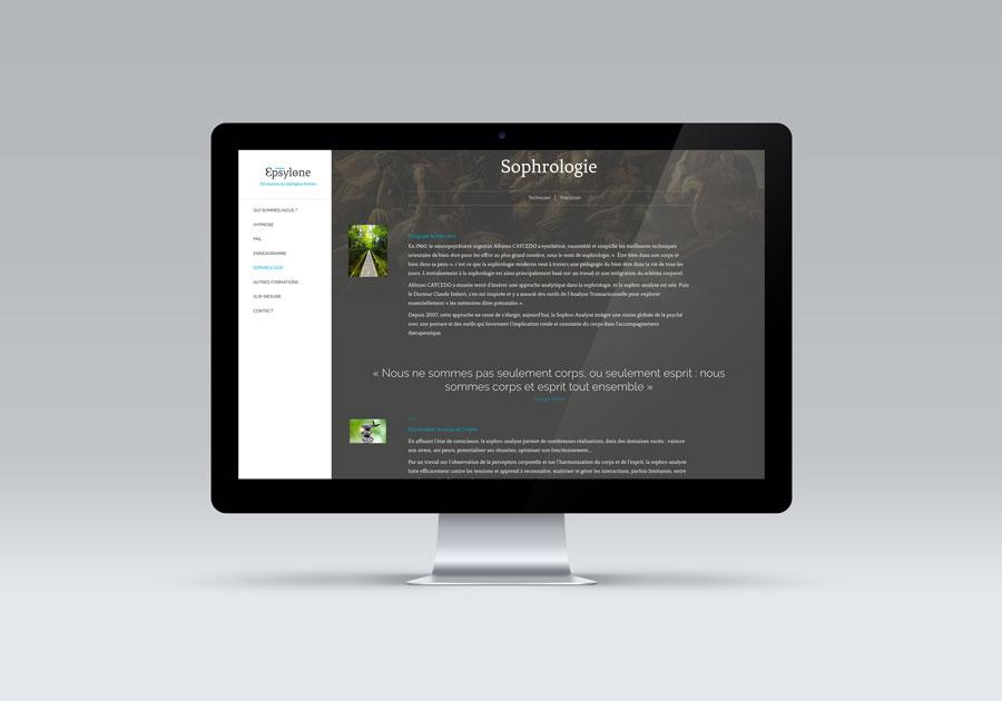 Site internet d'Epsylone sur écran d'ordinateur
