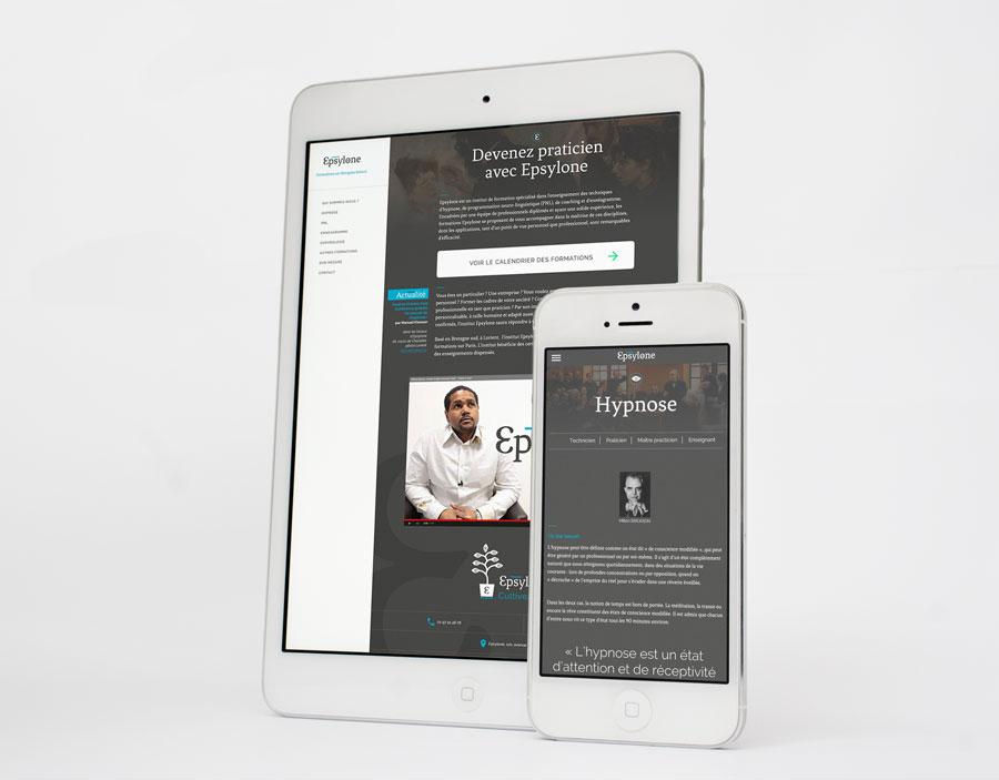 Site web d'Epsylone sur tablette et smartphone