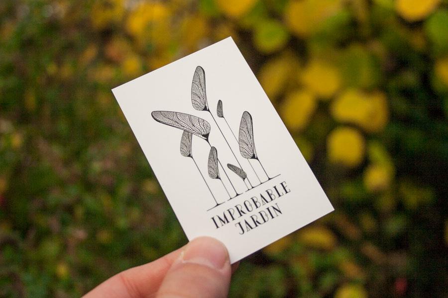 Recto de la carte de visite Improbable Jardin