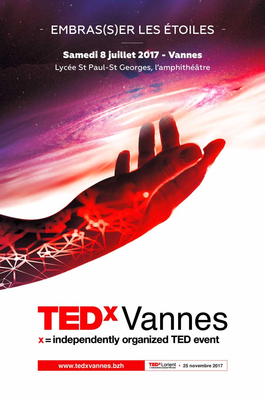 Affiche TEDx Vannes 2017 - Embras(s)er les étoiles