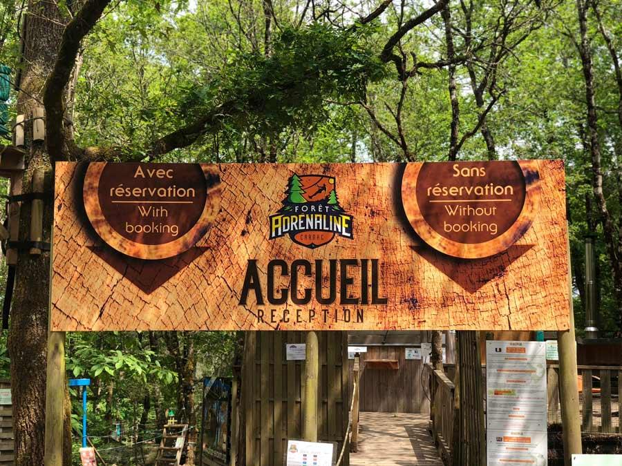 Panneau d'accueil Forêt Adrénaline