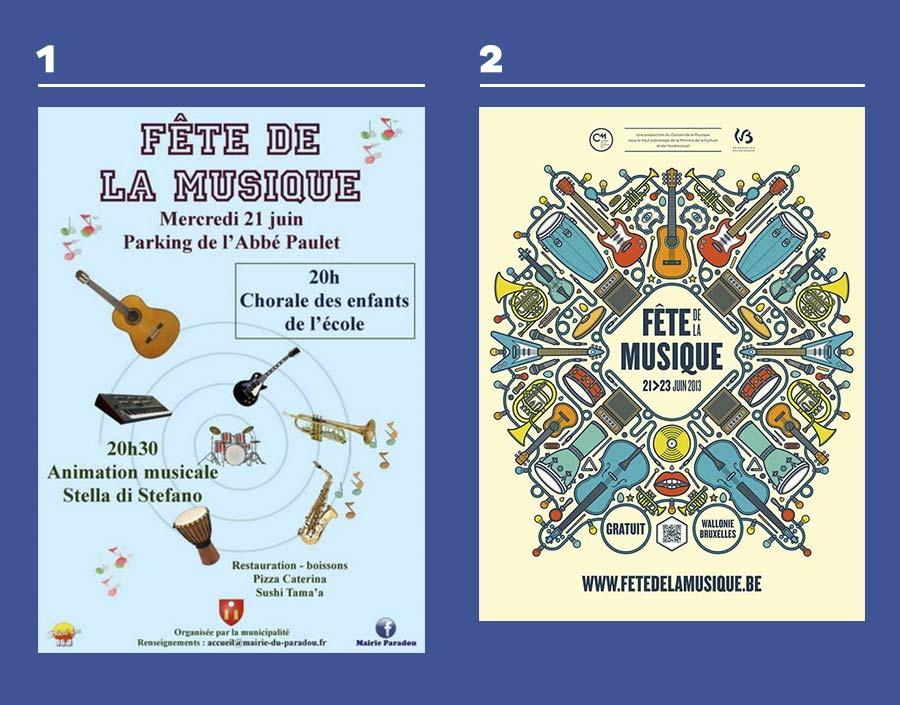affiches fêtes de la musique comparaison