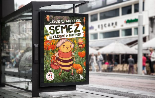 affiche semez des fleurs-lanester-abeilles