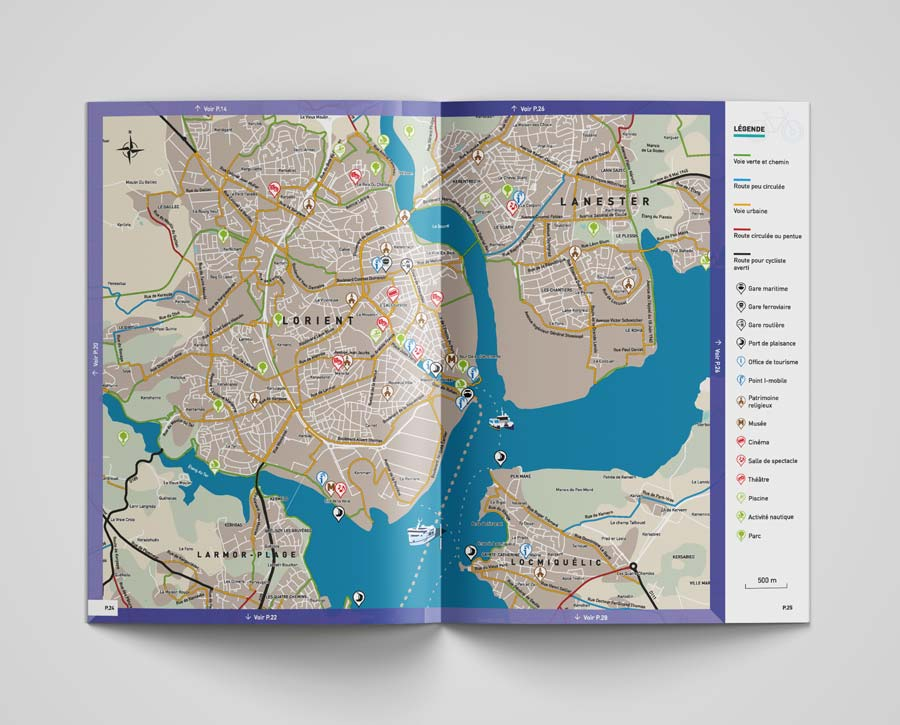 double page Intérieur plan guide velo Lorient Agglo