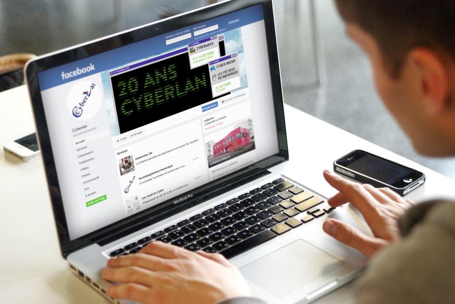 Bannière facebook de Cyberlan aux couleurs de l'événement