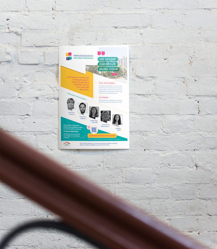 Affiche annonçant le questionnaire auprès des locataires des Hauts-Martinets