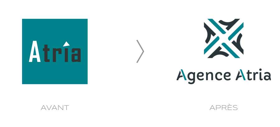 Évolution du logo de l'Agence Atria