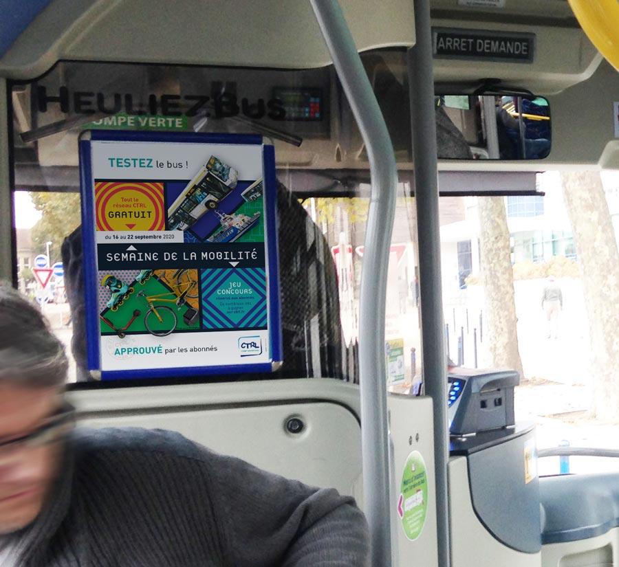 Affiche A3 intérieur de bus campagne bus gratuit lorient