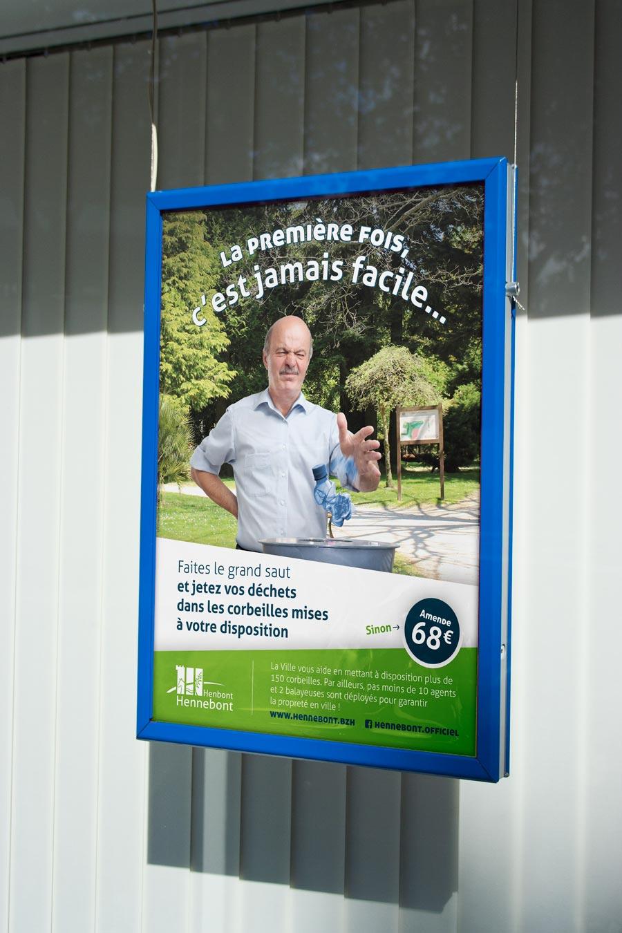 La déclinaison de l'affiche avec le message sur les déchets