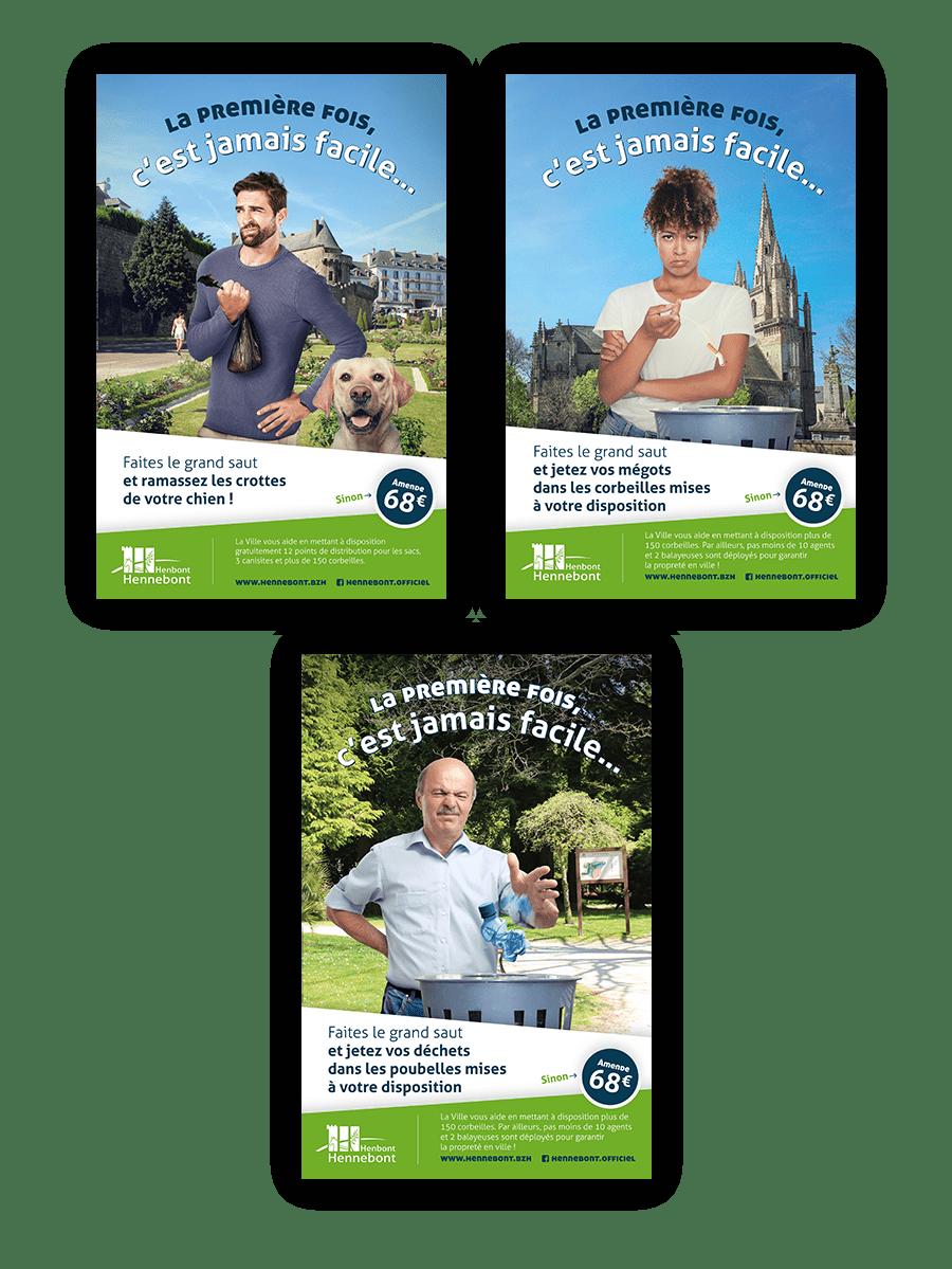 Les trois versions du visuel pour la campagne