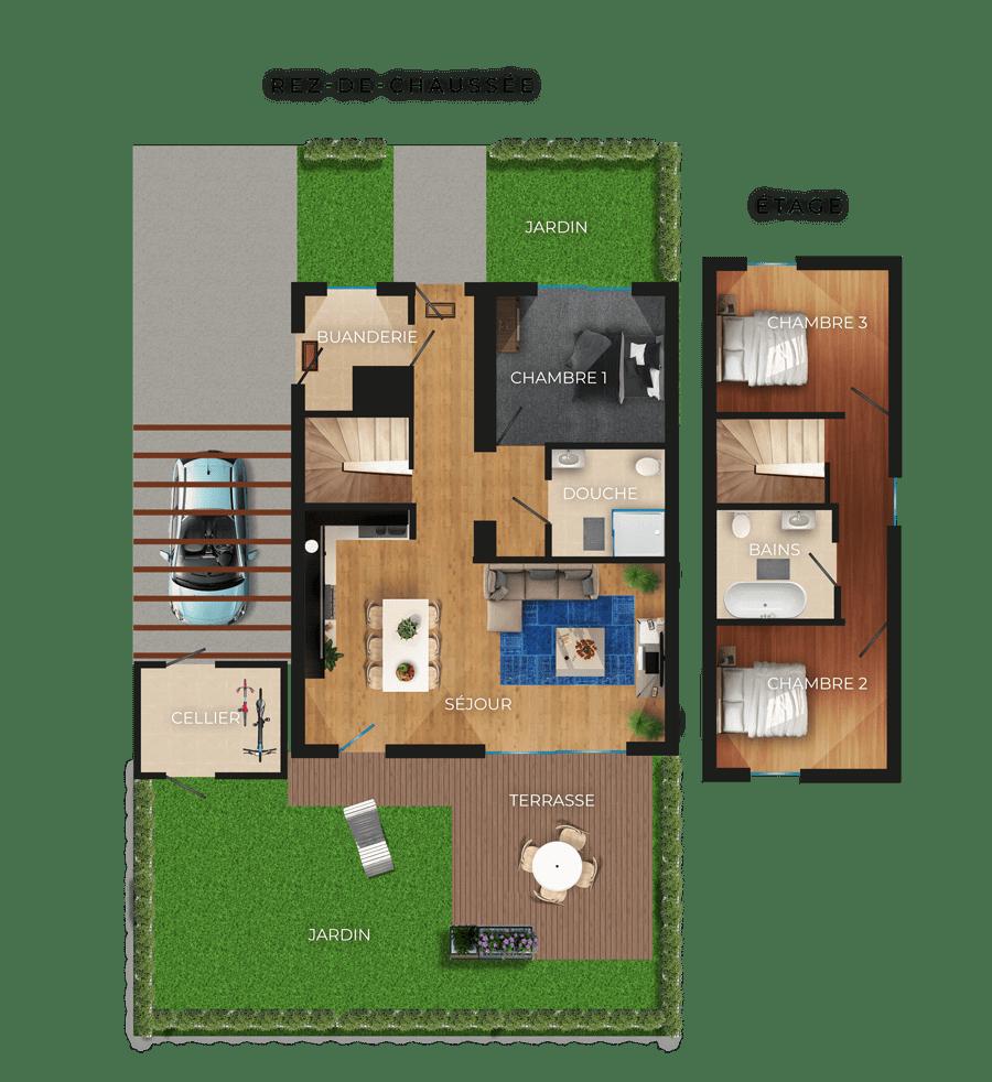 Plan d'une habitation des Attik de Léonie