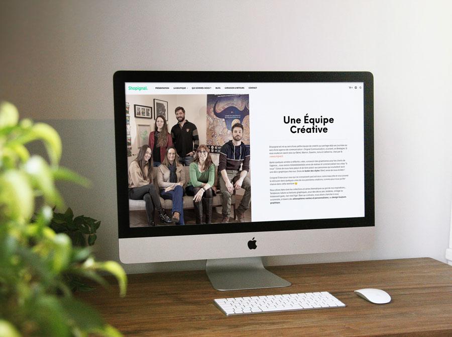 La page équipe du site web Shopignal