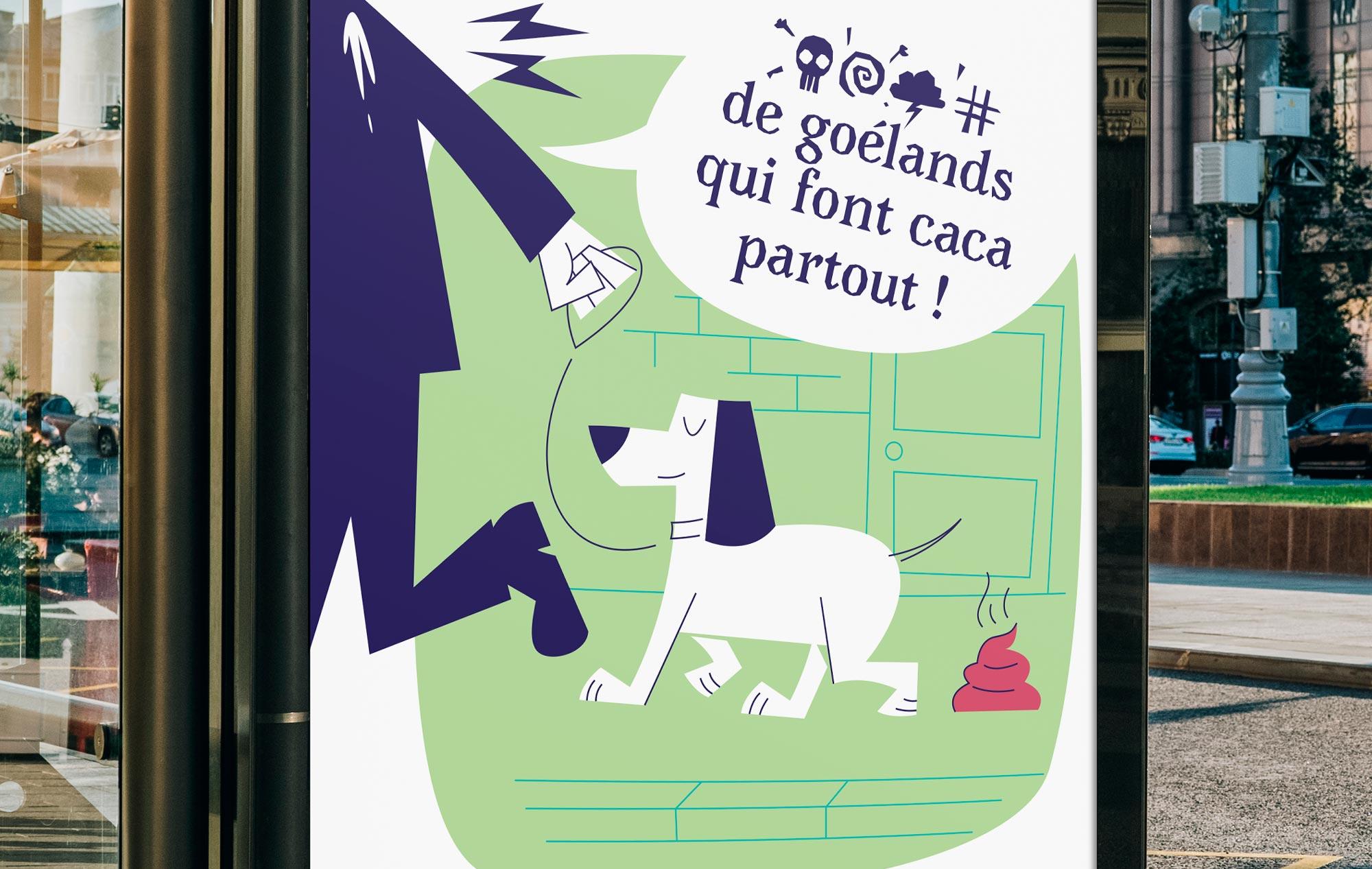 communication affiche caca chien