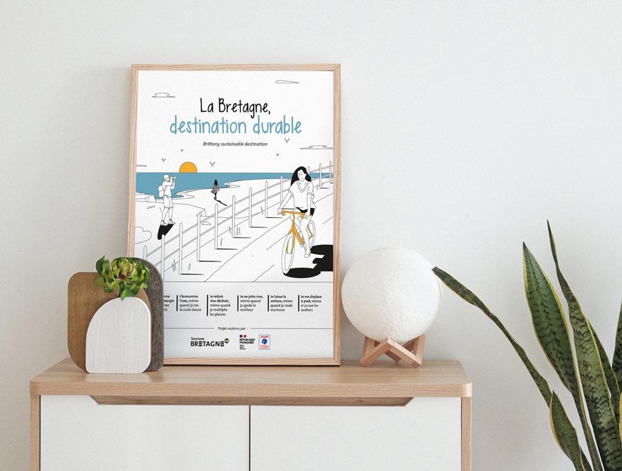 "L'affiche ""La Bretagne, destination durable"" version bord de mer"