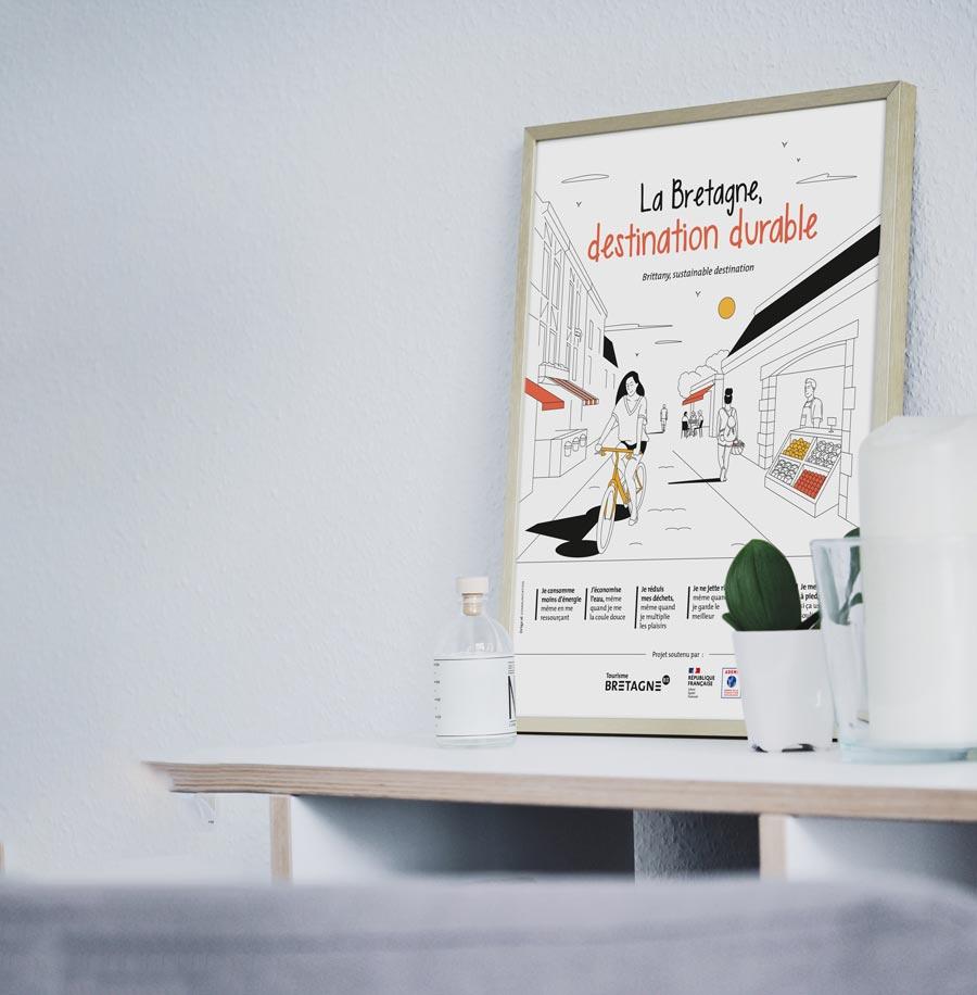 """L'affiche """"La Bretagne, destination durable"""" version ville"""